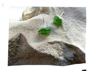 Durable earrings natural organic green polished sea glass pieces