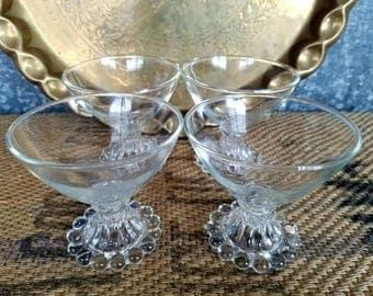 Boopie Berwick Anchor Hocking Sherbet Glasses, SET OF 4 Retro Mid Century Glasses, Champagne Coupes, Dessert Cups