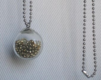 Bubble necklace with glass and gold seed beads