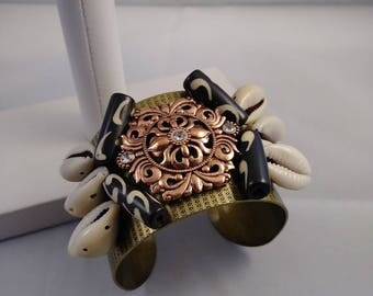 Bronze cuff bracelet, cowrie shell bracelet, copper bracelet, bead bracelet