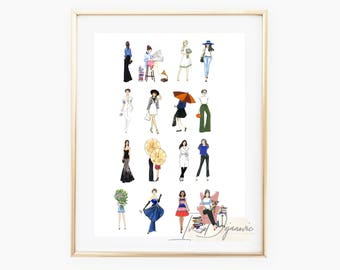 Fashion illustration print Outfits Fashion Sketch Print Mix outfits illustration print Fashion art wall art decor