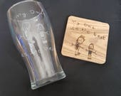 Your Child's Drawing Engraved Glass - Personalised Hand Engraved Glass - Hand Burned Coaster