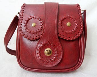 Exclusive Vintage Red Genuine Leather Messenger Bag Shoulder Bag Woman Small Handbag Red Genuine Leather Purse