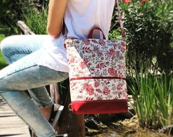 Red Floral Mini Backpack, Vegan Backpack, Large School Bag, Functional Canvas Bag, Floral Women Fashion, Flower Crossbody Bag, Handmade Gift