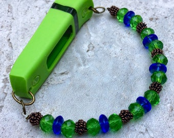Green and Blue Bracelet, Beaded Fitbit Flex Bracelet, Activity Tracker Bracelet, Green Bracelet, Fitbit Beaded Bracelet, Exercise Tracker