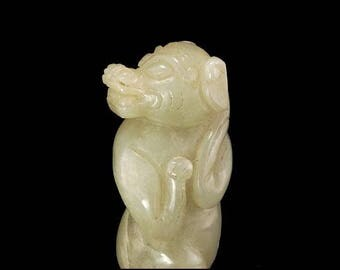 Antique Chinese Carved Green Celadon Jade Figural Animal Statue