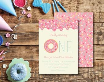 Sweet Celebration Donut DIY Printable Baby's First Birthday Party Invitation