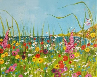 Meadow bay. Original acrylic painting on box canvas.