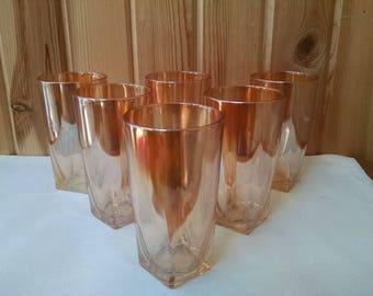 Peach Lusterware Tumblers - Set of 6- iridescent Amber Beverage Glasses - 10 Ounce Vintage Glassware Lustreware