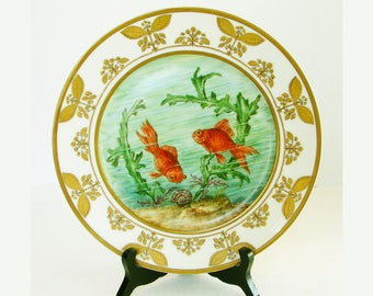 Rare Geo. Rouard Paris Porcelain Plate, Marcel Goupy Design, Hand Painted Aquatic Scene, Red Gold Fish, Signed, Art Deco Cabinet Plate