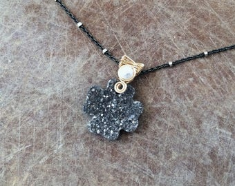 Gold Filled Wire Wrapped Titanium Coated Black Agate Druzy and Pearl Pendant with Two Tone Sterling Silver and Gold Filled Chain Necklace