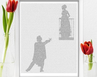 Romeo and Juliet Literary Gift Poster, First Anniversary Gift for Her, Shakespeare Book Lover Gift (AU)