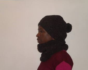 snood and hat set hand knit in black color