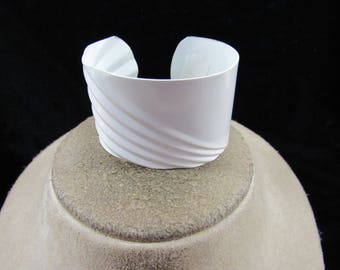 Vintage Wide White Enameled Cuff Bracelet