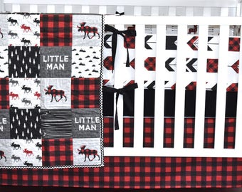 Custom bedding - Lumberjack bedding, Moose Adventure Crib Bedding, modern nursery, modern quilt, woodland, boy nursery, hunting, charcoal, m