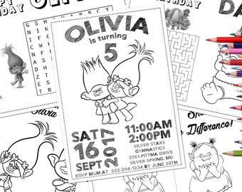 Trolls coloring page | Etsy