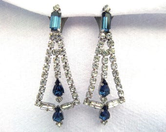 FREE SHIPPING Art Deco Crystal Drop Earrings, Clip On, Mid Century English Costume Jewellery, Decadent Faux Diamond & Sapphire Crystal