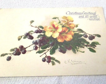"""Catherine Klein Postcard, Artist Signed, Christmas Greetings and All Good Wishes, 5.5"""" x 3.5"""", Blank Reverse, Good Condition Circa 1910"""