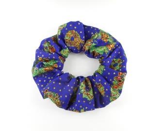 Christmas scrunchie  cotton - blue christmas wreath