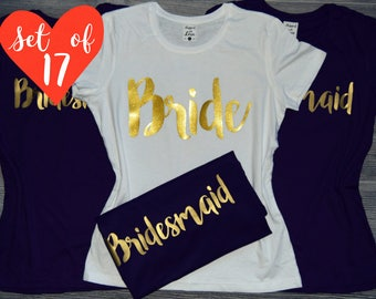 17 Glitter Bridesmaid Shirts, 17 Gold Bachelorette Shirts, 17 Gold Glitter Team Bride T-shirts, Gold Bride's Crew Tees, Glitter Bride Tees