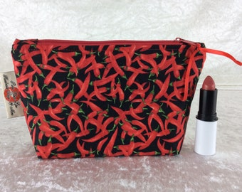 Chillis Zip Case Bag Pouch fabric Handmade in England