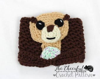 Crochet Pattern - Otter Crochet Pattern - Otter Coffee Cozy Pattern - Instant Download - Coffee Sleeve Pattern - Coffee Lover Pattern -