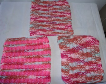 Knit Dish Cloth Set of 3