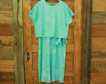 vintage 1980s turquoise & white bow waist blouson dress L 15 16