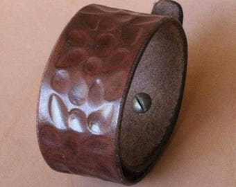 "Dark Brown, Tooled, ""Hammered"" look, Leather, Cuff, Wristband, Bracelet"