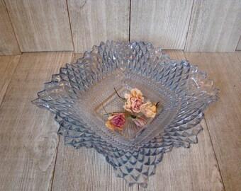Vintage  Blue Diamond Point Dish, Indiana Glass Dish, Square Glass Dish,Nut Dish, Vintage Blue Glass Dish, Candy Dish