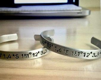 Coordinates Cuff Bracelet, Hand Stamped, Aluminum bracelet, Aluminum Cuff Bracelet, Hand Stamped Jewelry
