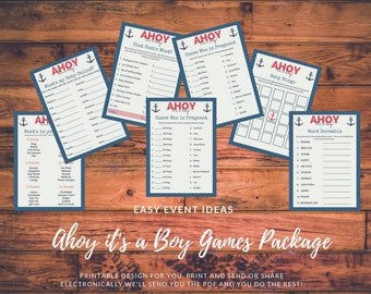 Ahoy it's a Boy Nautical Theme Baby Shower Game Printables