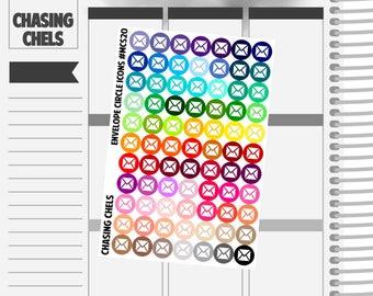 Envelope Circle Icons #MCS20 Premium Matte Planner Stickers