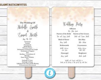 Wedding Program Template, INSTANT DOWNLOAD, You Edit, Ceremony Program Template, Wedding Program, Wedding Template, DIY, Bokeh Program