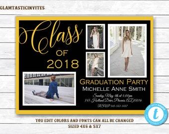 Graduation Invitation, Grad Invite, Graduation Template, Class of, You Edit,High School Graduation Invitation, College Graduation Invitation