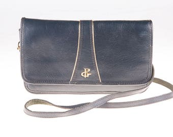 Dark Blue PG 70's Leather Bag, Shoulder Bag