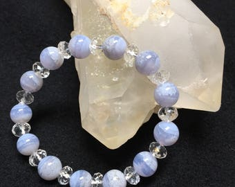 Natural Blue Chalcedony and Faceted Crystal Beaded Bracelet (1B)