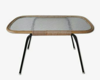 Rattan Coffeetable by Rohe Noordwolde made in Holland '60