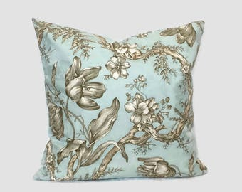 Farmhouse Pillow, French Country Throw Pillow Aqua Blue Brown Cushion Cover Cottage Floral Accent Pillow Shabby Chic Jacquard Pillow Lumbar