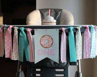 Donut Grow Up  Highchair Banner, Sweet One First Birthday, Donut First Birthday, Donut Birthday Party, Donut One Banner, Pink Donut Party