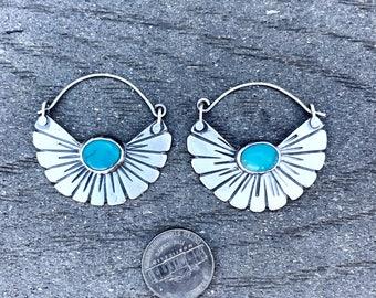 Turquoise fan hoops