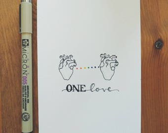 Original 4x6 Miniature Anatomical Hearts Illustration - LGBT Rights - One Love