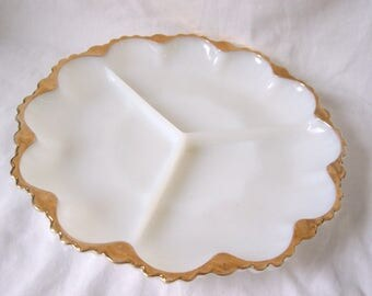 Milk Glass Gilded Serving Dish Plate c.1940