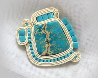 Turquoise brooch  Embroidered brooch Gift for girlfriend gemstone brooch Soutache Jewelry Soutache Brooch-Soutache Jewelry