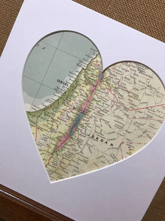 LOVE JERUSALEM - Heart Mount Vintage Atlas / Mall Wall Art - Country Town City - Vintage Atlas Pages - Custom Made To Order