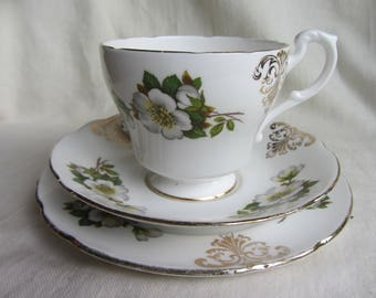 Vintage Paragon 1960's tea cup saucer & plate, white rose trio, Christmas rose, wild rose, tea party, bridal shower, English bone china
