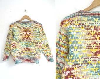 80s Hand Knit Sweater Colorful Acrylic Yarn Sweater Boat Neck Chunky Sweater Pullover Sweater Womens Jumper XS Extra Small