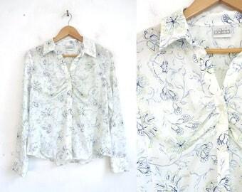Blue Floral Blouse.  Long sleeve Liz Claiborne Button Front V Neck Gathered Minimalist White Blue Semi Sheer Blouse Vintage 90s Medium