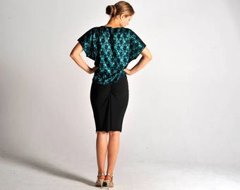 MARIA tunic top in emerald green lace - sizes XS/S/M