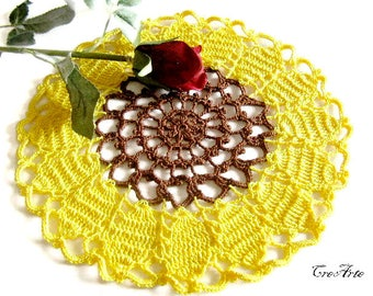 Crochet Sunflower Doily, Crochet Yellow and Brown Doily, Table decorations, Centrino Girasole